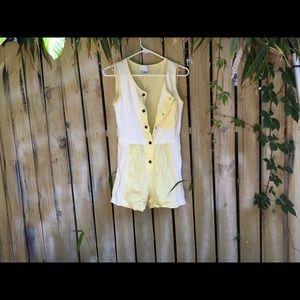 Vintage 90s Yellow Romper Jumpsuit Onesie Small S